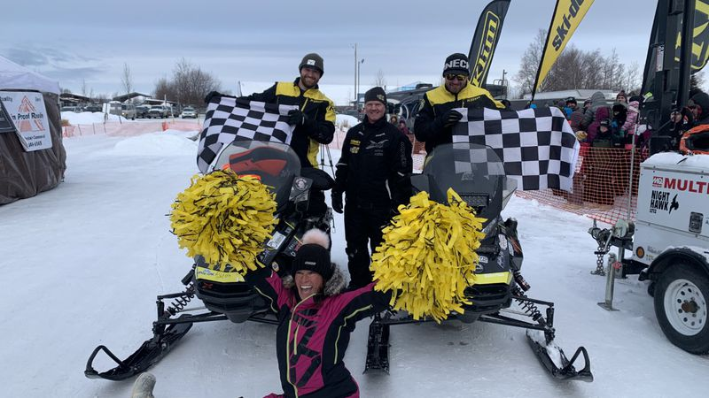 Team 6, Robby Schachle and Brad George after winning the 2021 Iron Dog.