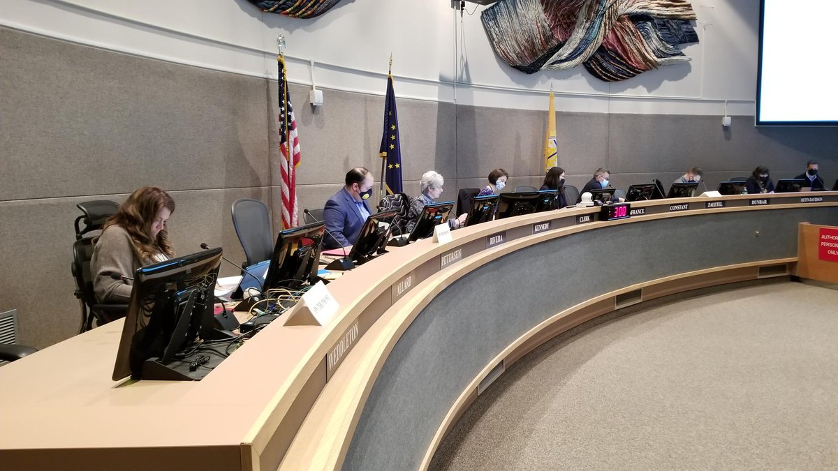 Members of the Anchorage Assembly meet on Tuesday, Sept. 14, 2021 at the Loussac Library in...