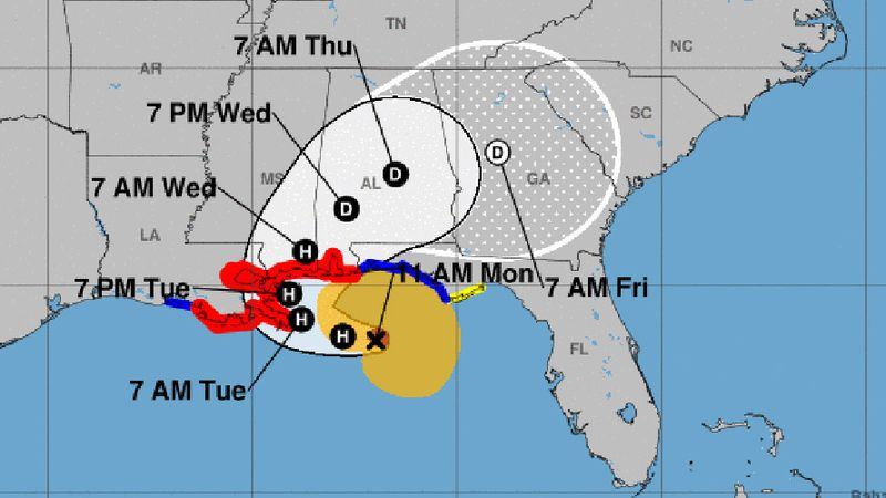 Sally quickly strengthened into a hurricane Monday.