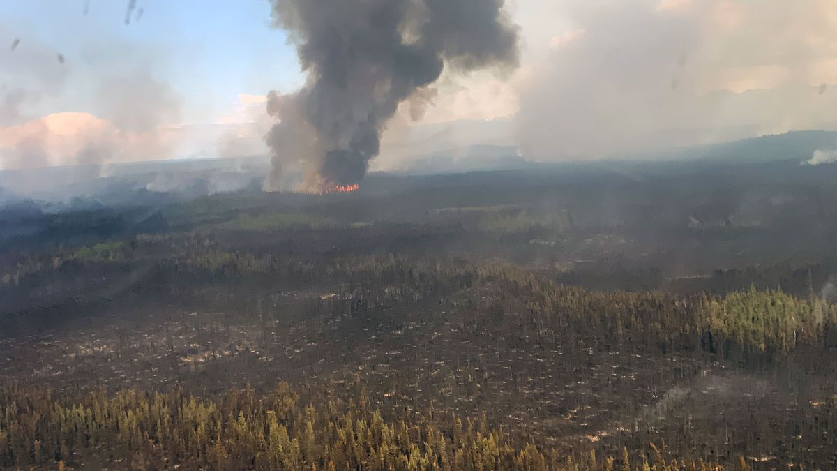 The Swan Lake Fire burns north of Sterling. (Photo From Alaska Division of Forestry)