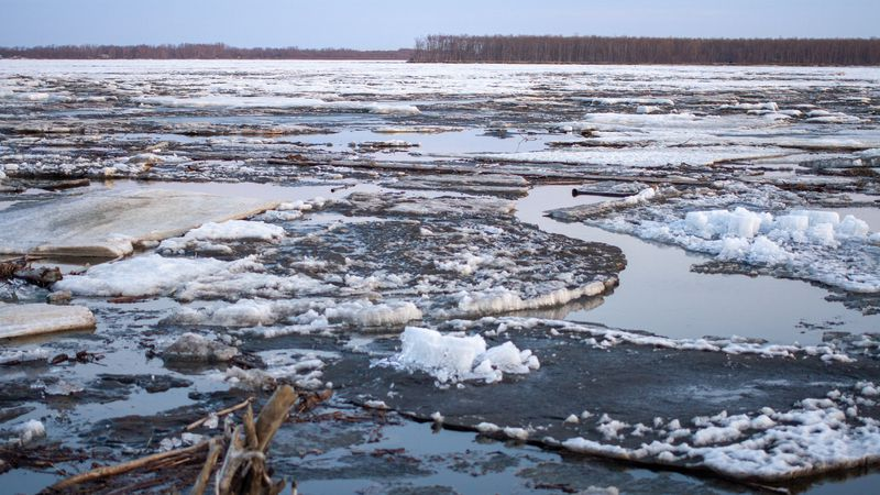 Ice and water near Bethel as breakup continues.