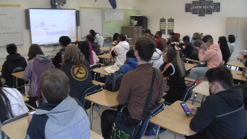Students at West Anchorage High School fill classrooms on the first day of school Tuesday, Aug....