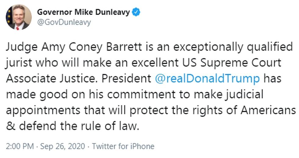 Governor Mike Dunleavy tweet on U.S. Supreme Court nominee