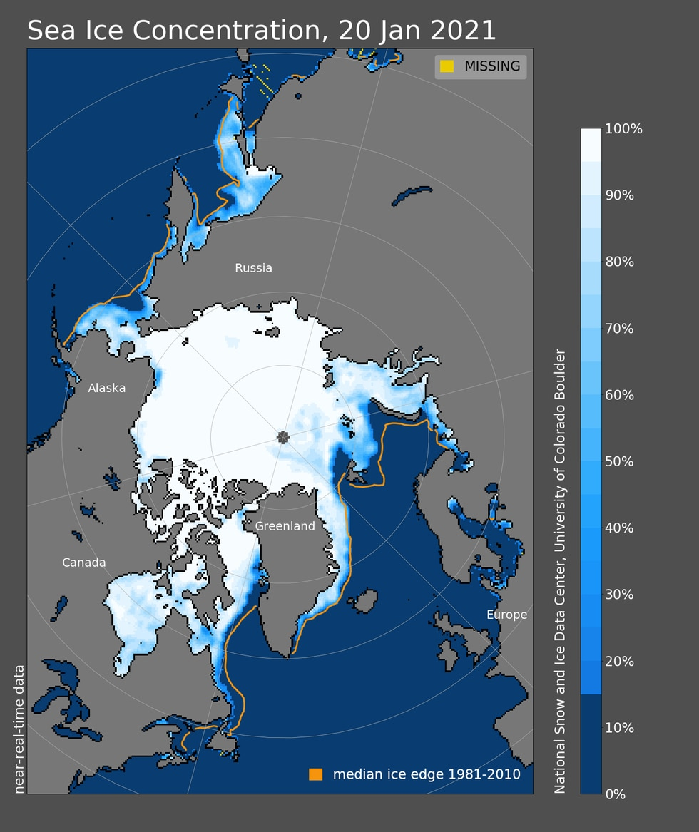 Concentration of Sea Ice across the Arctic shows a lower concentration across the Bering Sea