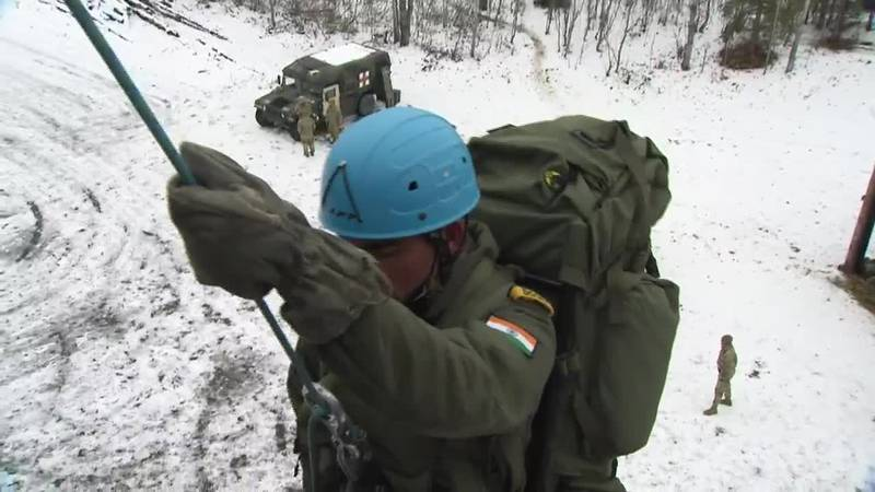 Indian soldier practices repelling at JBER