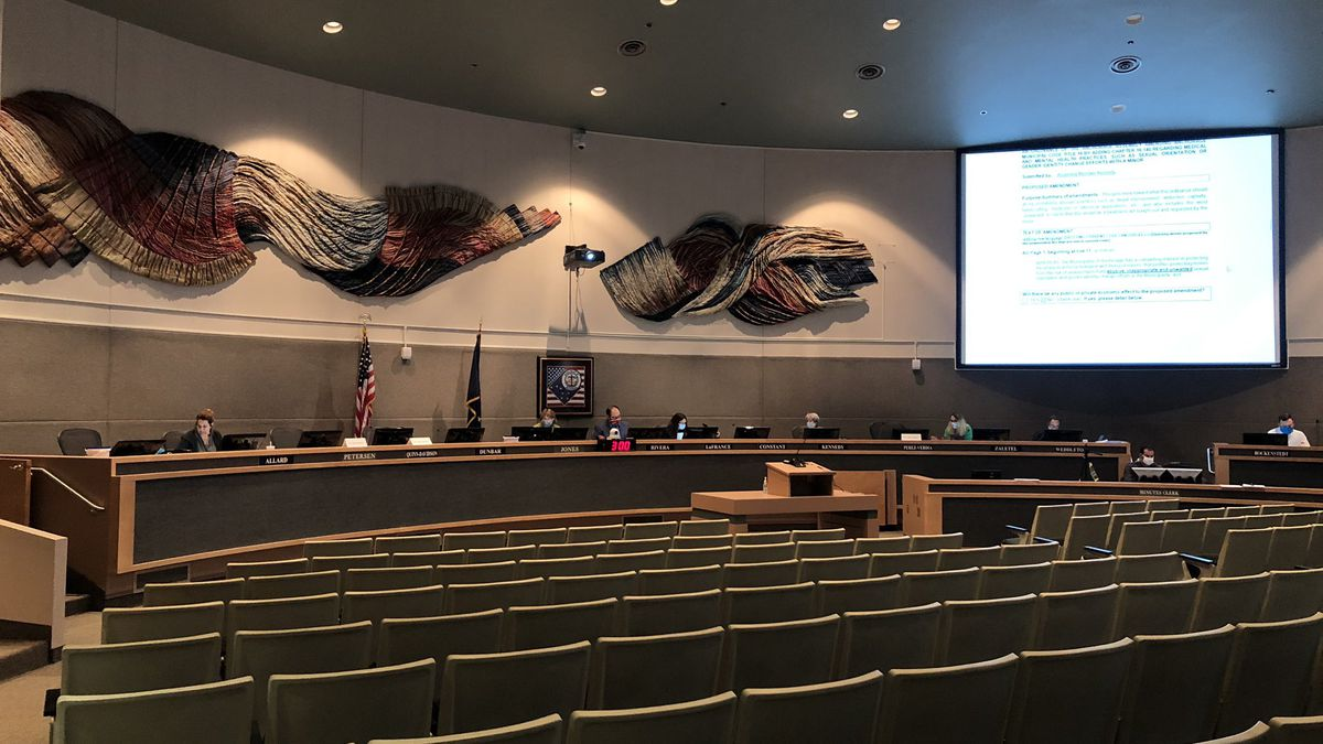 The Anchorage Assembly gathers for a continued meeting on Aug. 26, 2020, which focused primarily on a conversion therapy ordinance.