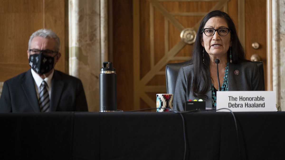 Rep. Deb Haaland, D-N.M., speaks during the Senate Committee on Energy and Natural Resources...