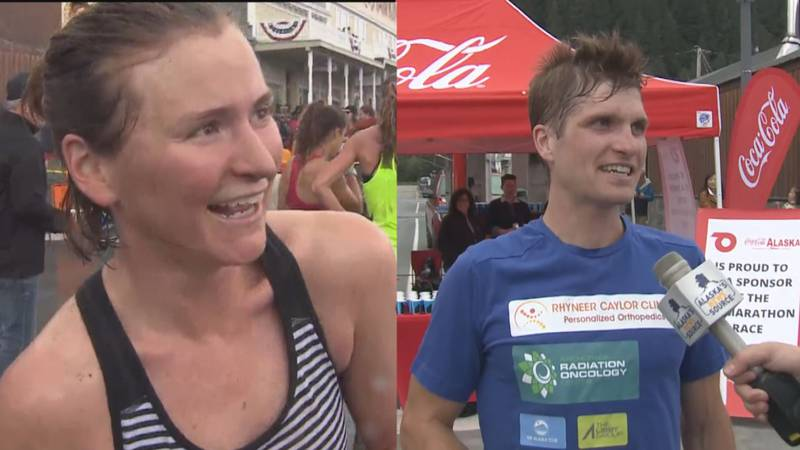 Hannah Lafleur (left) and David Norris (right) after winning their respective Mount Marathon...