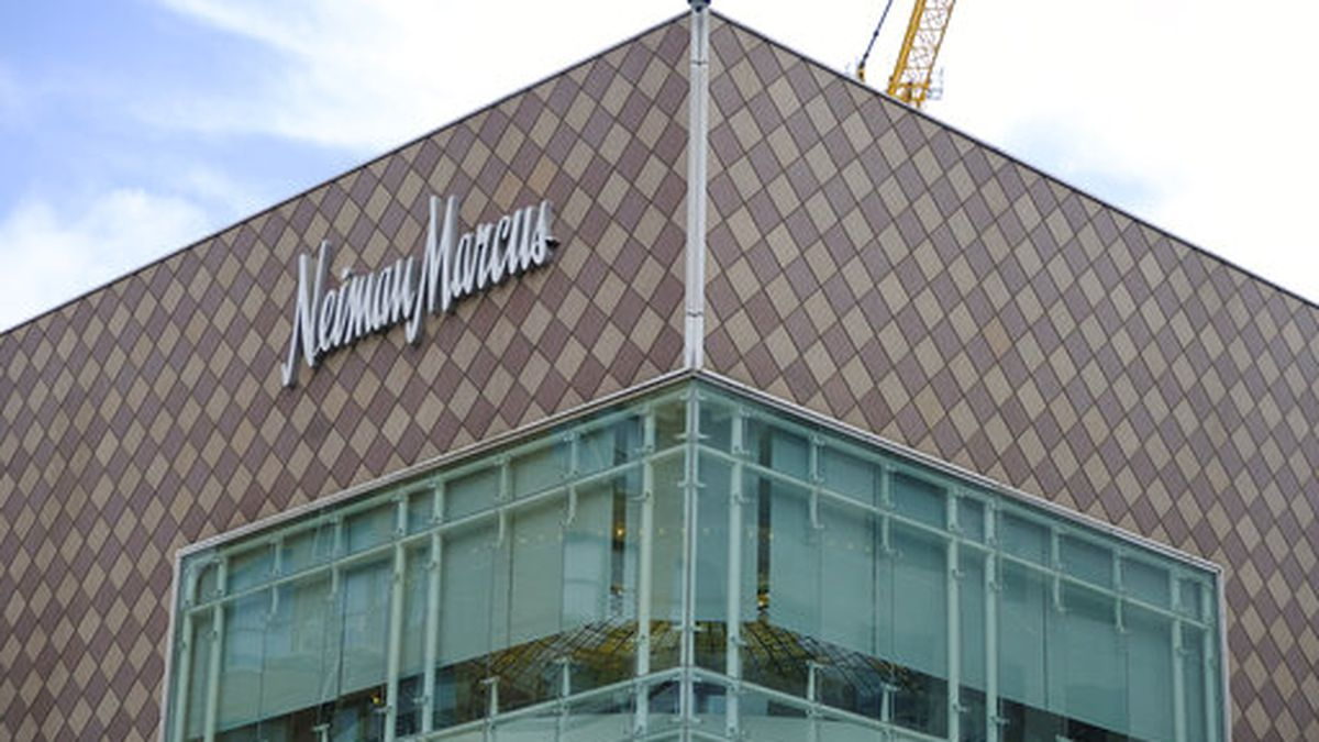 In this photo taken Friday, April 17, 2020, is the Neiman Marcus department store at Union Square in San Francisco. (AP Photo/Eric Risberg)