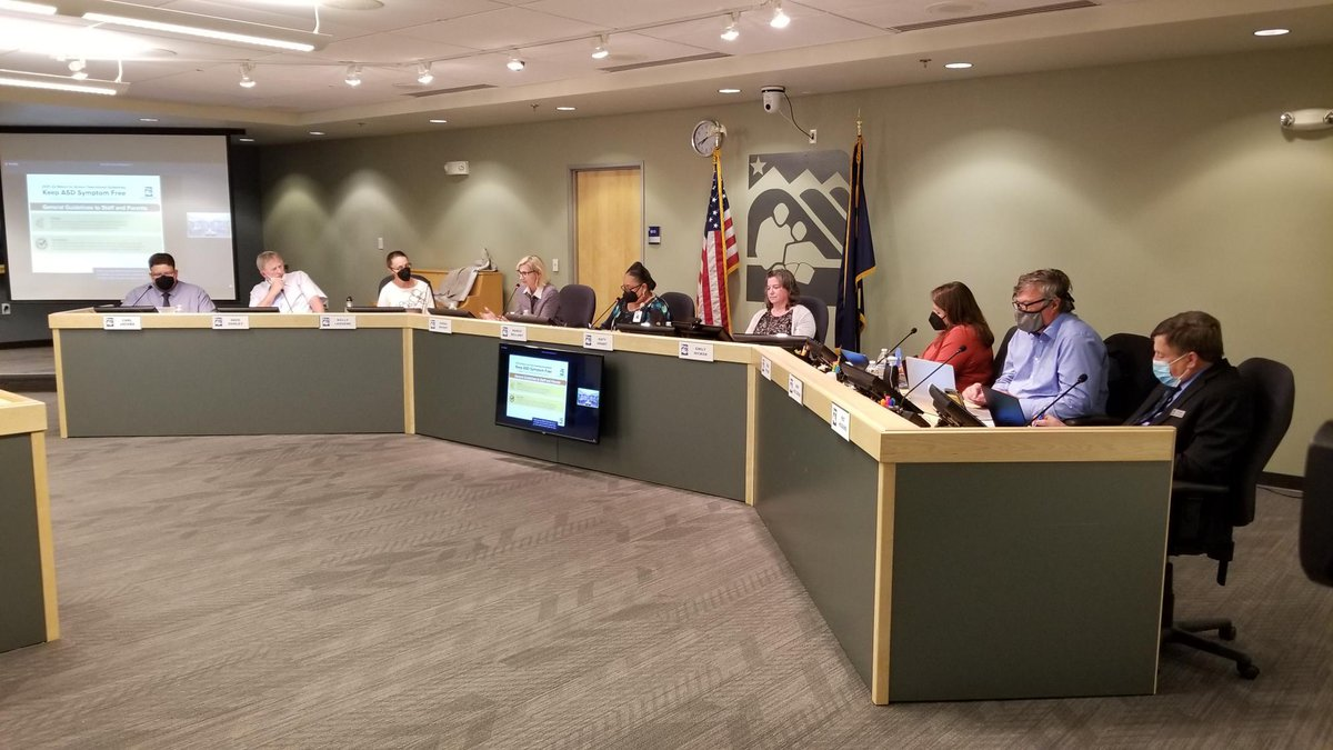 The Anchorage School Board meets on Tuesday, Aug. 3, 2021 in Anchorage, Alaska.
