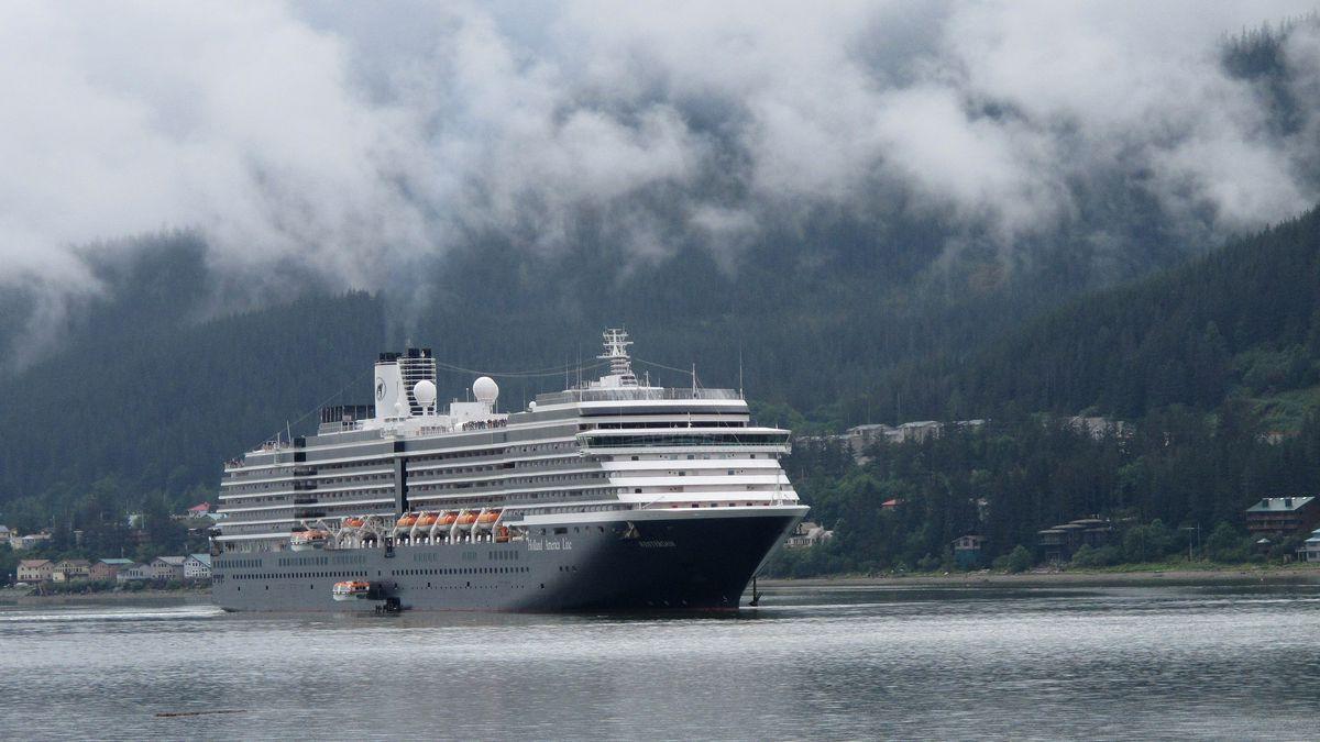 The Holland America Westerdam moves through Alaska's Inside Passage in August of 2011, in Juneau, Alaska. (AP Photo/Becky Bohrer)
