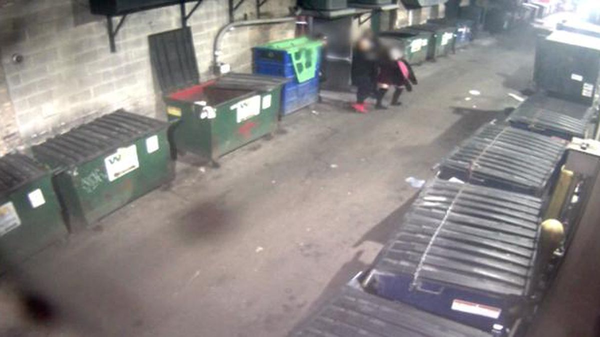 The man in red shoes is suspected of taking the woman between two dumpsters, where the alleged assault occurred. (Source: Hale & Monico Law Firm/CNN)