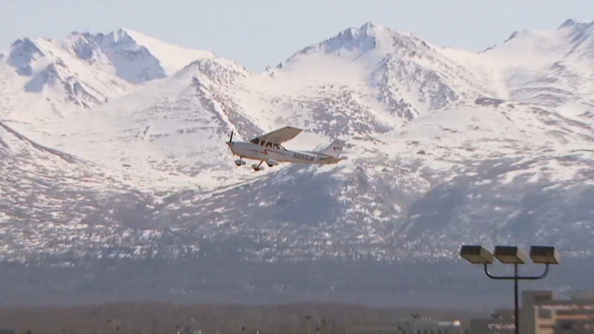 A prop engine plane taking off at Merrill Field in Anchorage, Alaska.