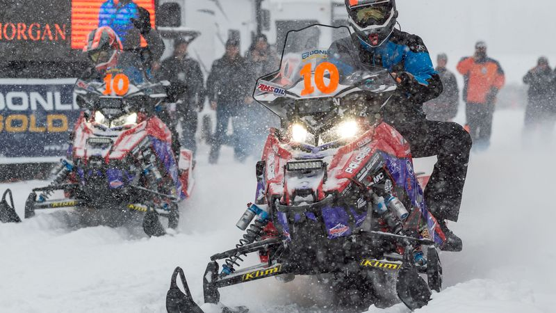Iron Dog Team 10, Mike Morgan and Chris Olds, leave the Deshka Landing starting line of the...