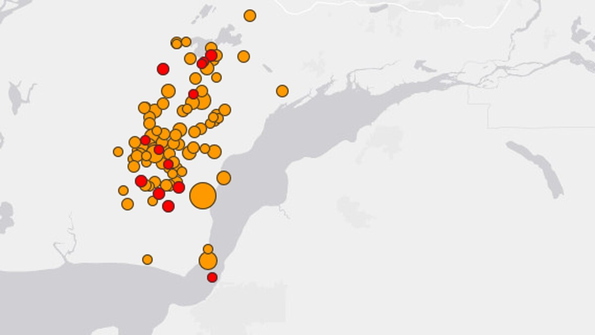 This map shows the cluster of quakes that have hit Southcentral Alaska since 8:30 a.m. until 4 p.m. (From USGS)