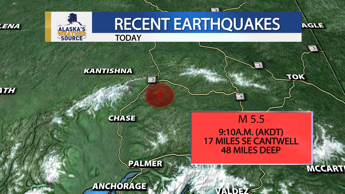 Southcentral Alaska experienced a 5.5 magnitude earthquake, which was centered southeast of...