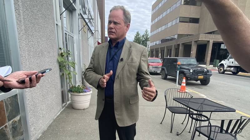 Anchorage Mayor Dave Bronson speaks with news reporters on Wednesday, July 14, 2021.