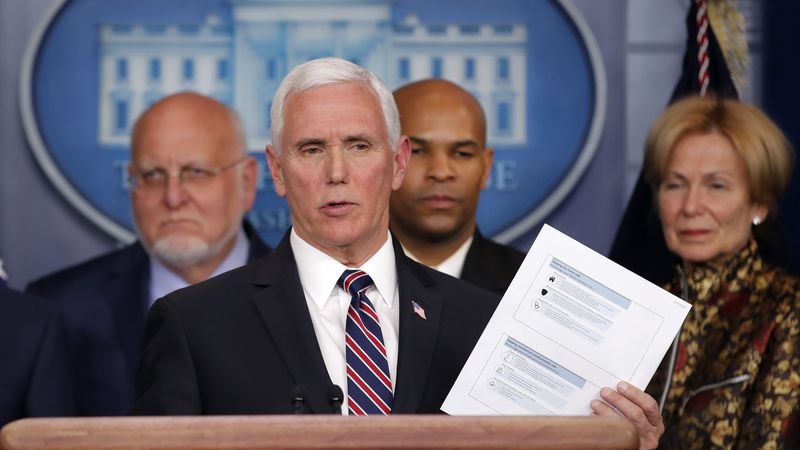 FILE - In this Monday, March, 9, 2020 file photo, Vice President Mike Pence speaks in the...