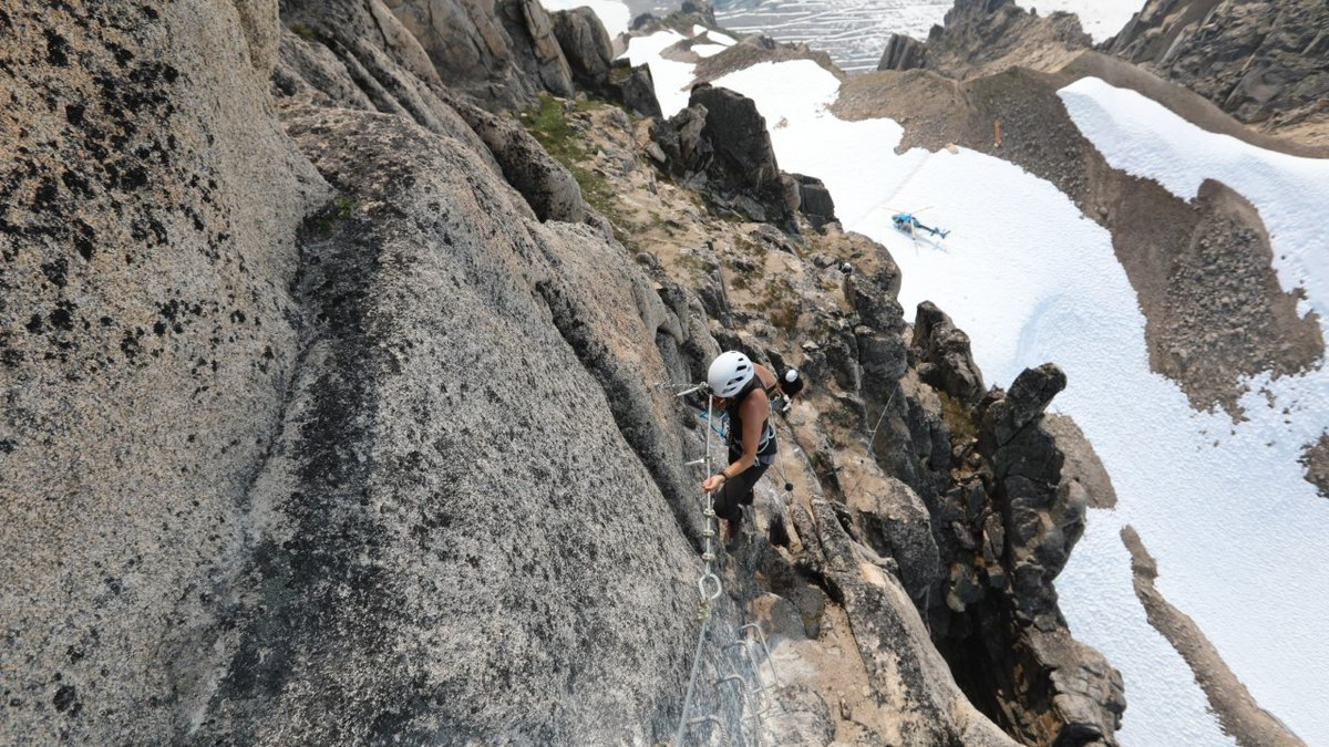 A climber begins the route up the via ferrata, the first even in Alaska (Photo courtesy of...