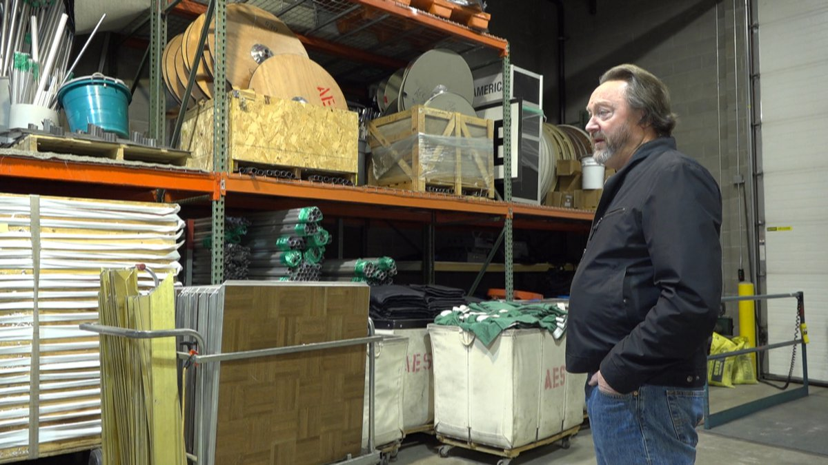 Alaska Event Services Co-owner Joe McLallen giving a tour of his warehouse. There's a lot of...