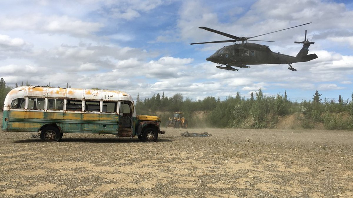 Bus 142 was lifted from Stampede Trail in June of 2020.