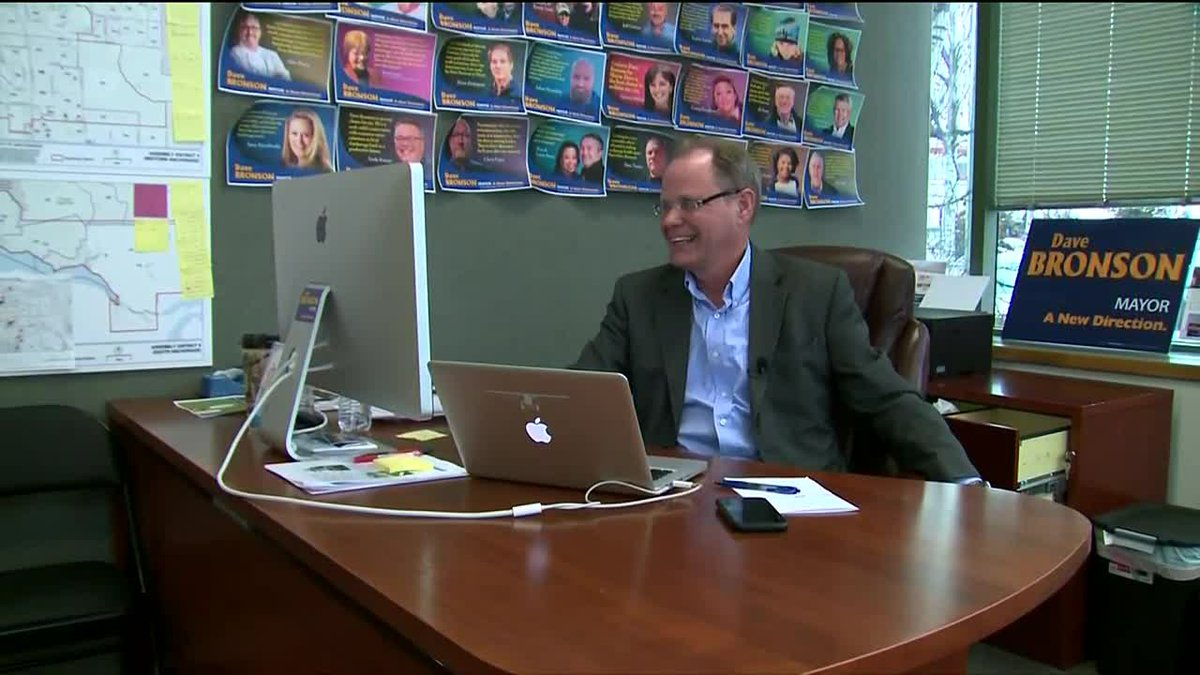 Then-candidate Dave Bronson at his campaign headquarters in Anchorage, Alaska.