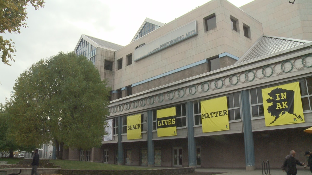 "A series of banners reading ""Black Lives Matter"" was posted at the Alaska Center for the Performing Arts in September."