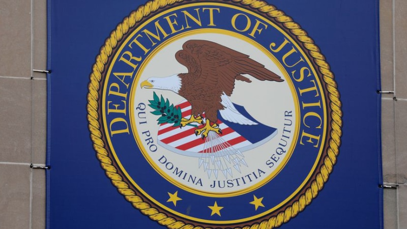 In this file photo, the crest of the United States Department of Justice is seen at their...