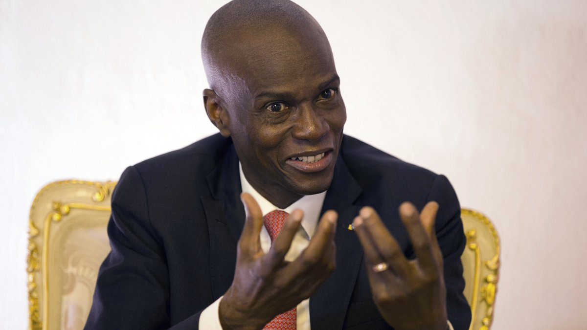 FILE - In this Aug. 28, 2019, file photo, Haiti's President Jovenel Moise speaks during an...