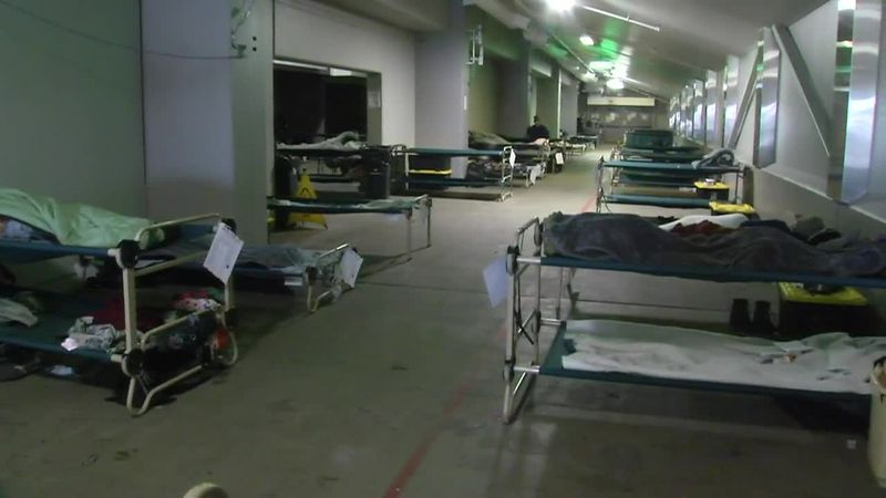 Some of the cots set up at the emergency homeless shelter at Sullivan Arena