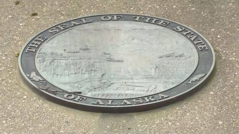 Seal of the State of Alaska outside the State Office Building in Juneau. (07/29/20).