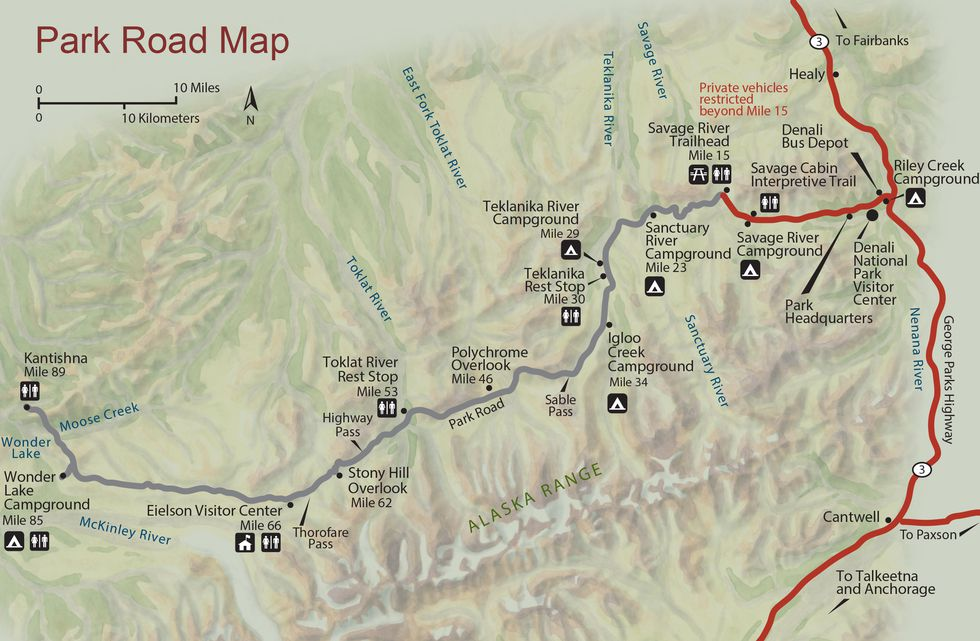 This map from the National Park Service shows the layout of the Denali Park Road in its entirety.