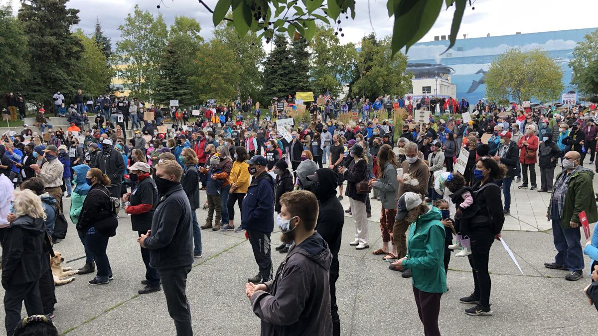Hundreds gather at Towne Square in downtown Anchorage for March on Alaska event