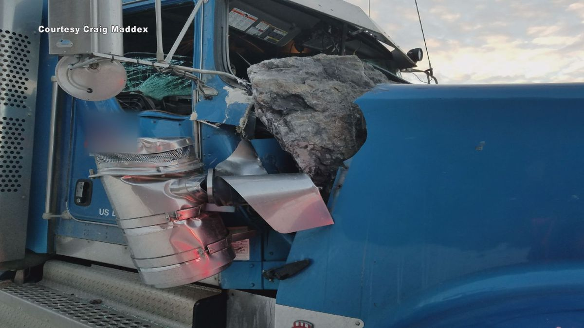 A massive boulder crashed into the cab of a semi-truck on the Seward Highway during Friday's...