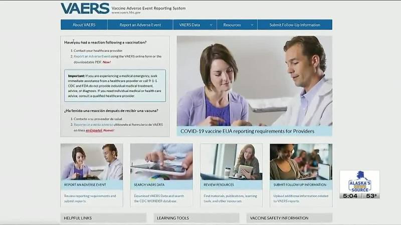 The VAERS website homepage.