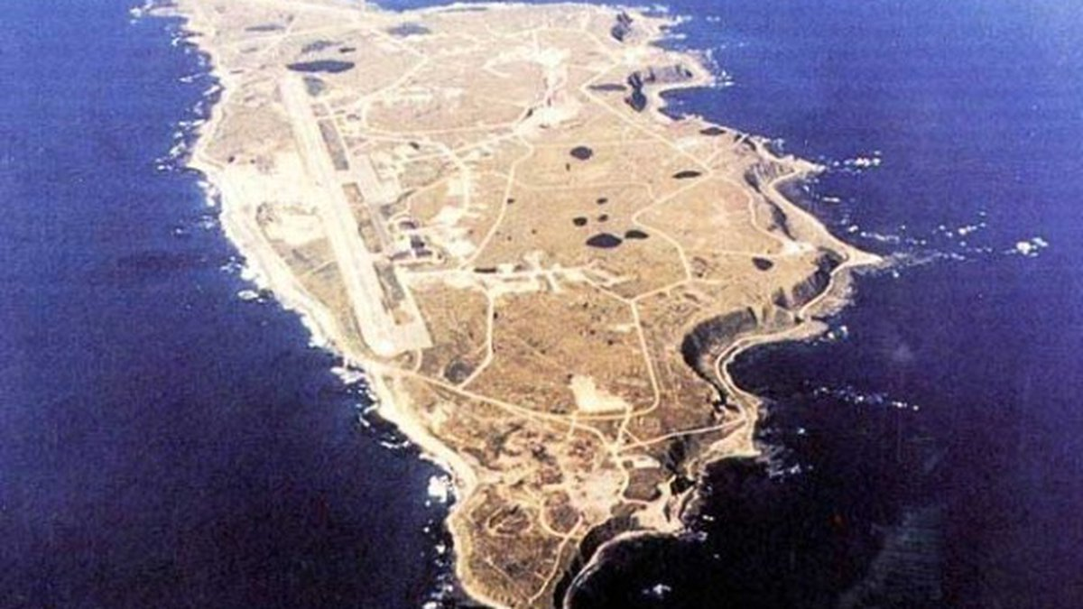 An aerial picture of Shemya, Island and what is now Eareckson Air station. The U.S.A.F says...