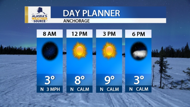 Anchorage will see clear skies and cold temperatures on Saturday.