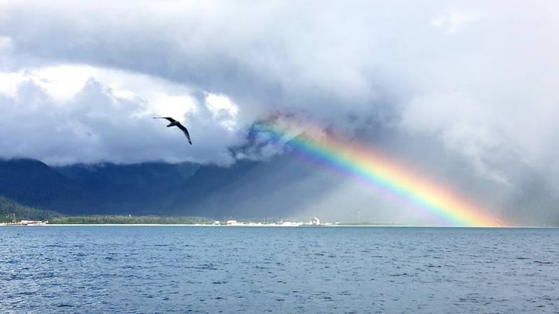 A picture of a rainbow in Seward, Alaska