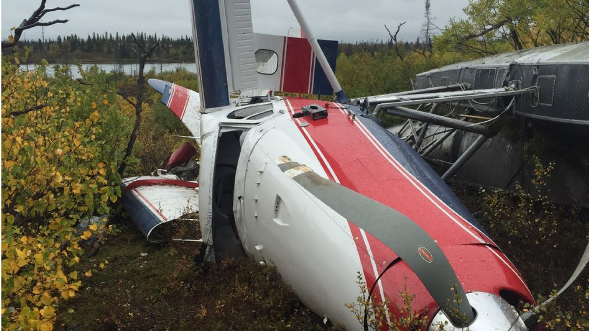 The wreckage of a de Havilland Otter that crashed Sept. 15, 2015, near Iliamna. Three people...