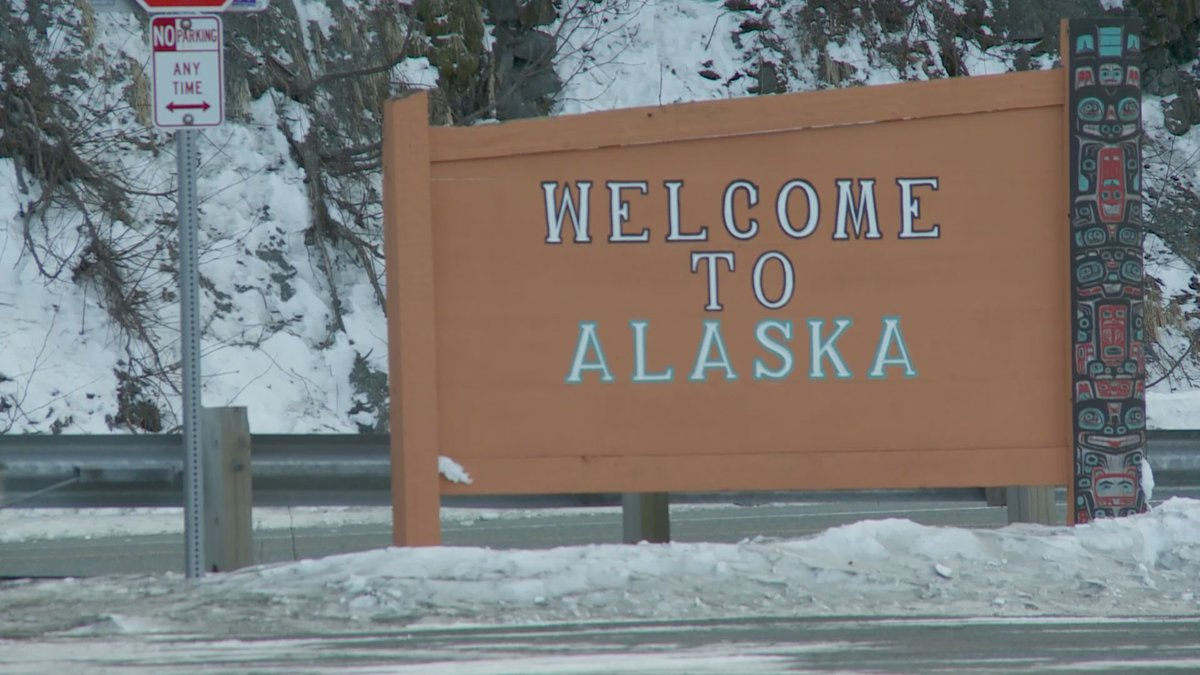 Welcome to Alaska sign in Haines.