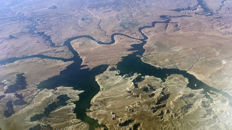 In this Sept. 11, 2019, file photo, is an aerial view of Lake Powell on the Colorado River...
