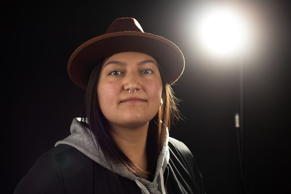 Portrait of 4th World Indigenous Media Lab fellow, Alexis Sallee. Photographed at the Big Sky Documentary Film Festival in 2020.