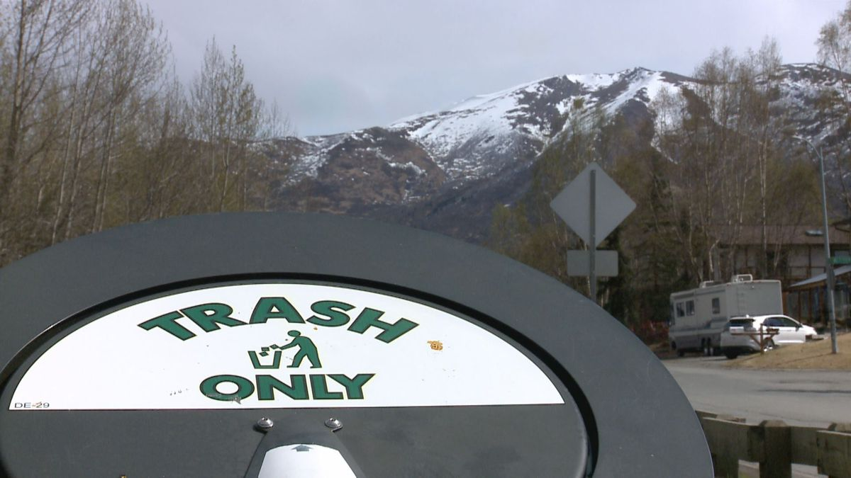 Trashcan at a park in Muldoon (KTUU)