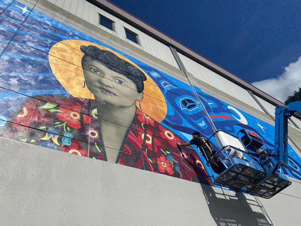 The Elizabeth Peratrovich mural was installed over a few sunny days last week in downtown...