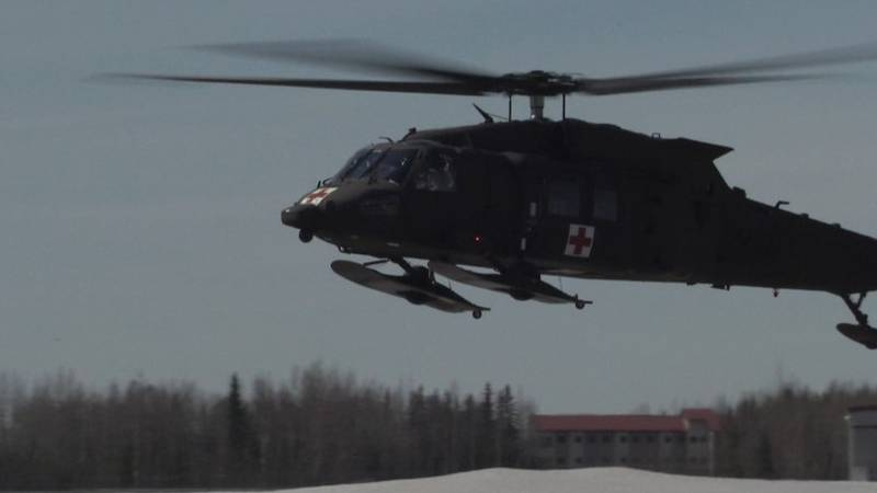 One of the UH-60 helicopters assigned to the Alaska Army National Guard at JBER