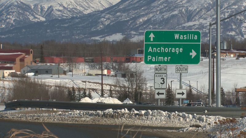 Signage located long the Parks Highway in Wasilla directs travelers.