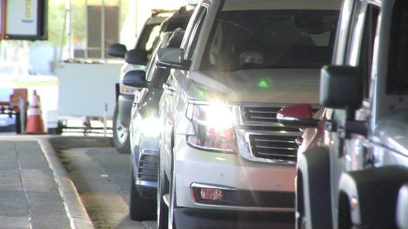 Drivers wait to pick up passengers at TSAIA