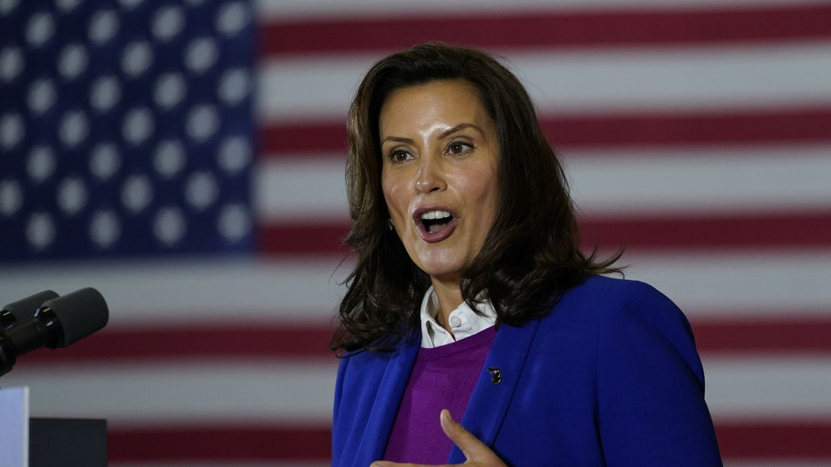 Michigan Governor Gretchen Whitmer speaks at Beech Woods Recreation Center, in Southfield,...