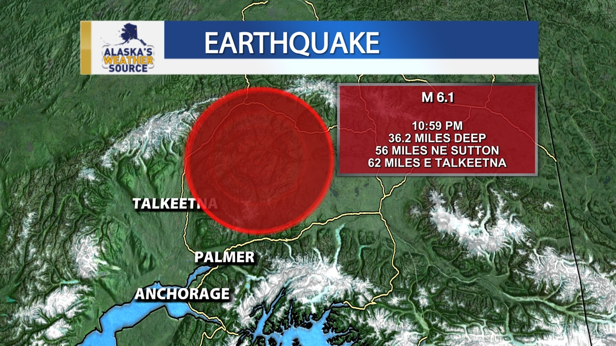 A magnitude 6.1 earthquake shook Southcentral just before 11 p.m. Sunday, May 30, 2021.