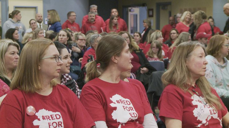 Hundreds of teachers and support staff rally at the Mat-Su Borough School Board meeting...